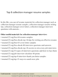Debt Collection Resume. debt collection manager sample resume ...