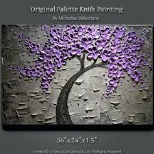 texture painting ideas large original textured painting blossom tree purple  grey wall texture paint ideas for
