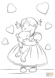Small Picture Lovely Girl Hugging a Teddy Bear coloring page Free Printable