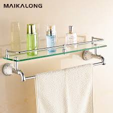 no 88813 bathroom glass shelf wall mount with towel bar and rail chrome finish in bathroom shelves from home improvement on aliexpress com alibaba group