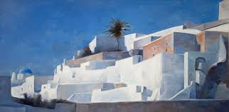 greek oil painting by famous greek contemporary artist showing traditional terranean architecture of santorini