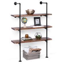 best choice s 4 tier industrial wall mounted iron pipe bracket bookshelf frame