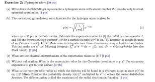 exercise 2 hydrogen atom 39 pts a write down the schrodinger equation for