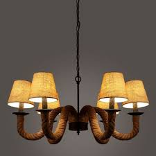 industrial vintage chandelier 6 light rope fixture arm with fabric shade