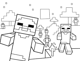 Free Coloring Pages For Girls Minecraft Cutouts Herobrine Vs