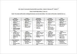 Preschool Lesson Plan Template 11 Free Pdf Word Format Download