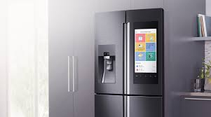 samsung tv refrigerator. samsung\u0027s family hub refrigerator is an enormous four-door smart device with a 21.5-inch 1080p gorilla glass-covered touchscreen equipped high-tech samsung tv r