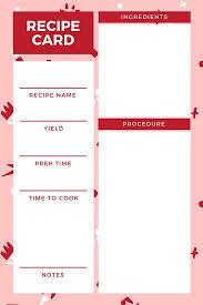red pattern recipe card