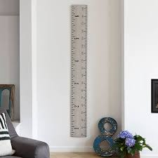 White Growth Chart Wooden Ruler Growth Chart In White Grey And Putty