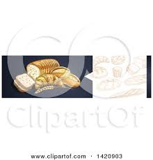 Clipart Of A Website Header Banner Of Sketched Breads And Baked