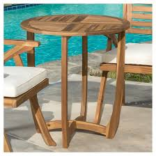 Carina Round Acacia Wood Accent Table Teak Christopher Knight