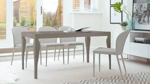 taupe leather dining chairs. dining table in grey gloss and 6 chairs taupe leather