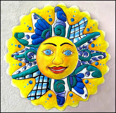 >celestial sun and moon designs in hand painted metal metal wall  painted metal blue yellow sun wall art