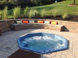 Retaining Wall Seating Backyard Entertaining Area Sunken Hot Tub Jacuzzi With Built In