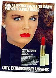1983 coty lipstick ad brooke shield pouty