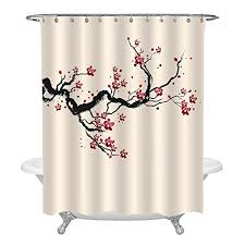 mitovilla japanese cherry blossom bathroom accessories for home decor classic asian watercolor shower curtain with spring cherry tree branches and blooming