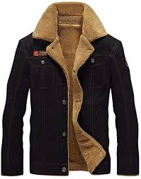 OGOUGUAN Men's <b>Plus Cotton</b> Warm Fur Collar <b>Casual</b> Button ...