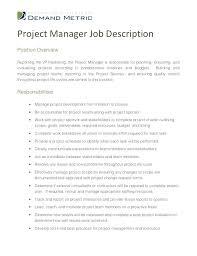 Construction Project Manager Job Description Sample Project Manager