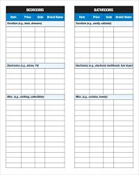 Checklist Sheet Template Inventory Checklist Template Sample Home Inventory Checklist