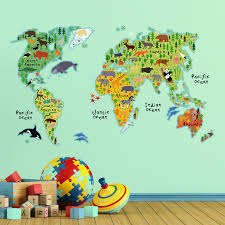 World Map Home Decor Wallpops Home Decor Line Kids World Map Wall Decal Reviews