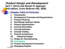 Product Design Development Ulrich Chapter 12 Ein 6392 Product Design Fall Ppt Download