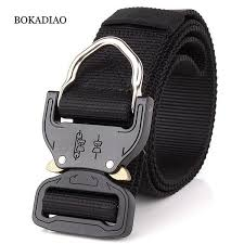 BOKADIAO <b>men canvas belt Quick</b> release Metal buckle Hook nylon