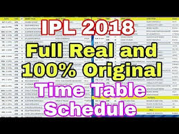 Ipl 2018 Ipl 2018 Full Real And 100 Original Time Table Full List Is Here