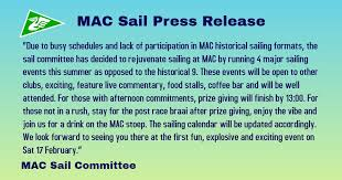 Mac Sail Press Release Milnerton Aquatic Club