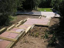 Small Picture Timber Retaining Wall with Rose Flagstone Walkway Designed by