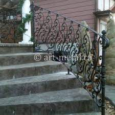 Outdoor concrete staircase with stainless steel handrail. Best Outdoor Stair Railings From Wood Glass Wrought Iron