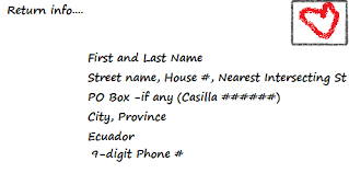 how to address a letter with a po box sending mail to ecuador