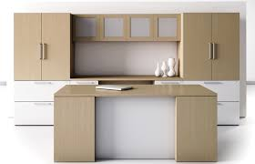 contemporary office credenza. This Modern Office Furniture Arrangement Consists Of Executive Desk, Kneehole Computer Credenza, Overhead Storage Hutch With Doors, Lateral File Contemporary Credenza
