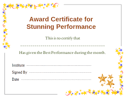 Best Performance Award Certificate Stars Award Certificate For Performance Template Office