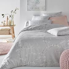 natsumi fl print satin cotton duvet cover printed grey white la redoute interieurs la redoute