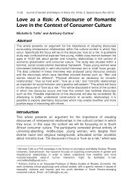 (PDF) <b>Love</b> as a risk: A discourse of <b>romantic love</b> in the context of ...