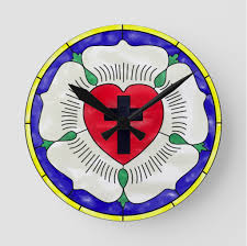 luther rose stained glass round wall clock