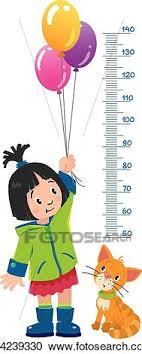Meter Wall Or Height Chart With Girl And Kitten Clipart