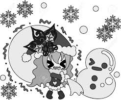 クリスマスと少女のかわいいイラスト
