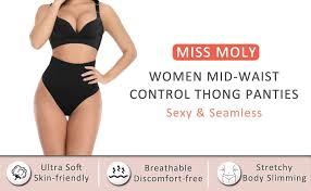 <b>MISS MOLY Women's</b> Tummy Control Panty Slimmer Seamless ...