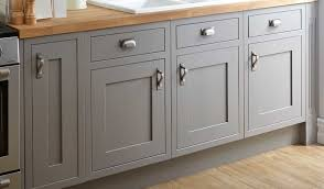Grey Cabinet Doors With Metal Knobs In The Kitchen With Butcher