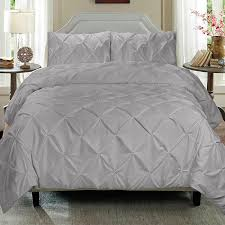 cathay home pintuck light grey duvet cover 3