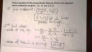 perpendicular bisector of a line segment