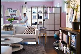 Wonderful IKEA Living Room Designs : Beautiful Ikea Living Room Design With  Pink Wall Paint And White Sofa Also Bookshelf