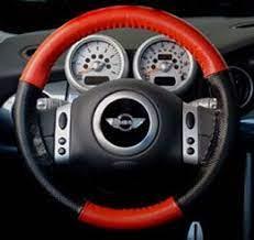 Mini Cooper Leather Steering Wheel Red Black Multifunction Grey Big Badge Round 2 Brushed Steel Gre Steering Wheel Cover Steering Wheel Ford Escape Accessories