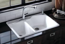 white drop in kitchen sink glossy and double white drop in sink using small faucet for