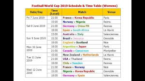 Football World Cup 2019 Schedule Time Table Womens