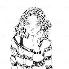 Cute Girl In A Striped Sweater Coloring Book Page For Adult Black