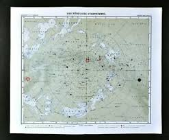 Details About 1911 Stieler Map North Sky Star Chart Sirius Polaris Cassiopeia Zodiac Astrology