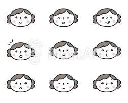 かわいい手描きの人物女性表情セットイラスト No 1293092無料