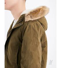 coats uk topman men topman faux fur hood cotton blend parka coat khaki